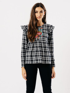 Black Check Ruffle Embroidered Top