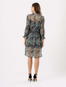 Mint Floral Sheer Button Through Shirred Sleeve Dress
