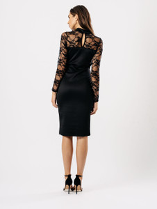 Black Contrast Lace Sleeve Bodycon Midi Dress