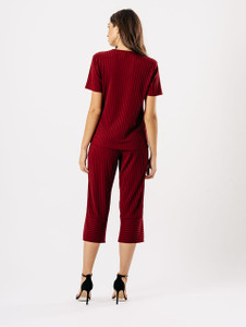 Wine Loose Ribbed Culotte Co Ord Set