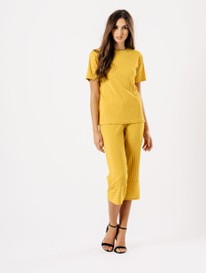 Mustard Loose Ribbed Culotte Co Ord Set