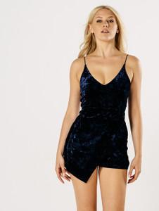 Blue Velvet Wrap Over Strappy Skort Playsuit