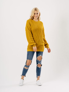 Mustard Oversized Knitted Jumper Dresses