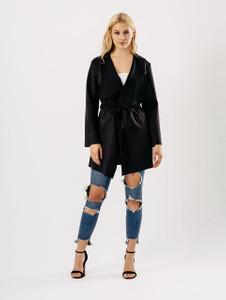 Black Suedette Short Wrap Jacket