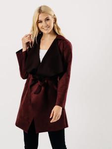Wine Suedette Short Wrap Jacket
