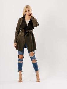 Khaki Suedette Short Wrap Jacket