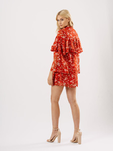 Red Floral Frill Front Sheer Dress