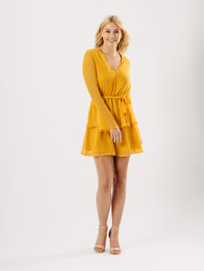 Mustard Sheer Bell Sleeve Tier Skirt Tie Dress