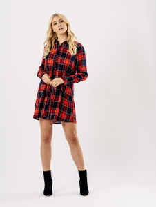 Red Check Long Sleeve Shirt Dress