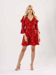 Red Floral Ruffle Detail Button Up Tea Dress