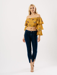Mustard Floral Bardot Tier Sleeve Crop Top