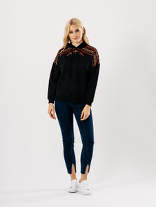 Black Aztec Embroidered Hoodie Sweat Jumper