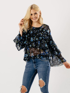 Blue Floral Tier Sleeve Sheer Frill Blouse