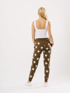 Olive Star Print Joggers
