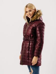 Wine Longline Duffle Hooded Puffa Jacket Coat