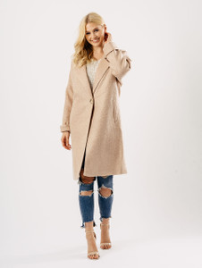 Rose Pink Wool Blend Single Breasted Oversized Coat