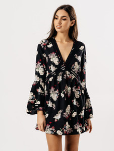 Black Floral V Neck Flute Sleeve Dress With Lace Detail