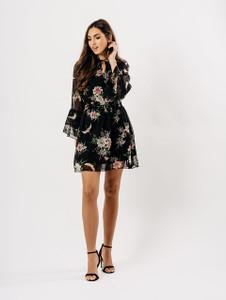 Black Floral Tie Front Sheer Dress