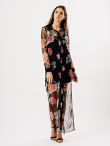 Black Floral Sheer Button Up Maxi Dress