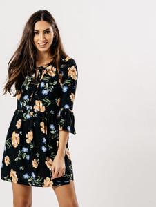 Black Floral Bow Tie Up Dress