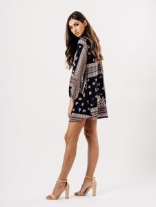 Mosaic Print Choker Neck Back Tie Dress