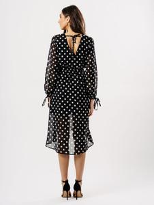 Black Polka Dot Sheer Maxi Wrap Dress