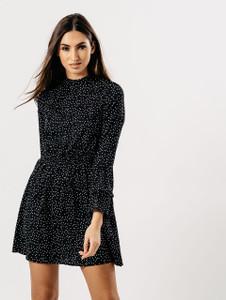 Polka Dot High Neck Frill Sleeve Dress