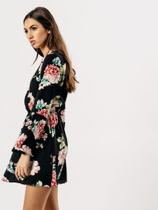 Black Floral Flute Sleeve Wrap Dress