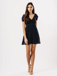 Black Navy Polka Dot Tea Dress