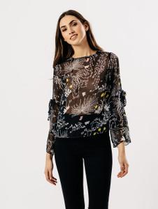 Black Nature Sheer Split Sleeve Blouse