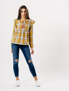 Mustard Checked Embroidered Top