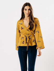 Mustard  Floral Flute Sleeve Wrap Top