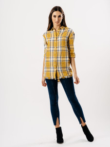 Mustard Check Embroidered Frill Hem Shirt