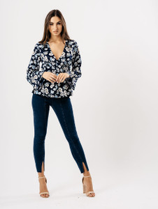 Navy Floral Flute Sleeve Wrap Top
