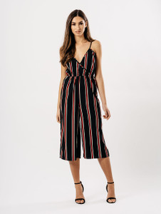 Black & Red Stripe Wrap Culotte Jumpsuit