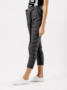 Charcoal Check Cigarette Trousers With D Ring Belt
