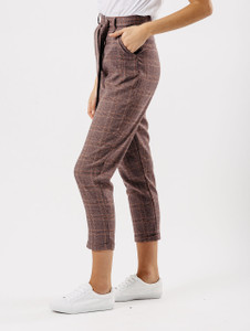 Pink Check Cigarette Trousers With D Ring Belt