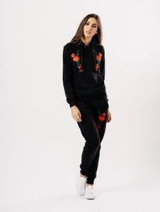 Black Flower Embroidered Lounge set