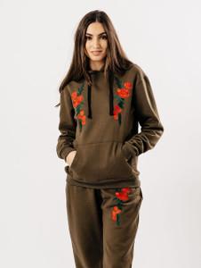 Khaki Flower Embroidered Lounge set