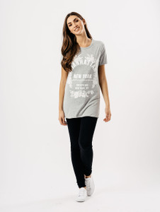 Grey Manhattan Slogan Print Tee