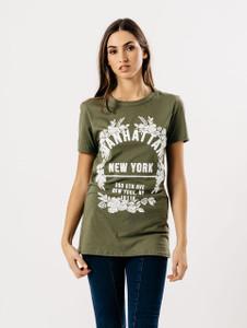 Khaki Manhattan Slogan Print Tee
