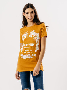 Mustard Manhattan Slogan Print Tee
