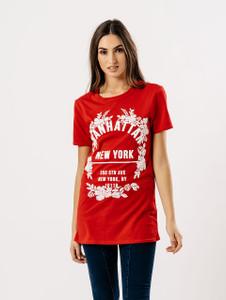Red Manhattan Slogan Print Tee