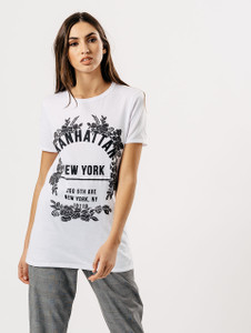 White Manhattan Slogan Print Tee