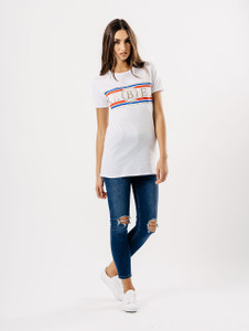 White Rebel Glitter Slogan Tee