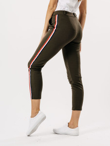 Khaki Sports Luxe Stripe Cigarette Trouser