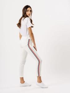 White Sports Luxe Stripe Cigarette Trouser