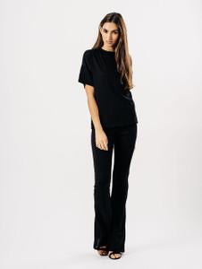 Black Ribbed Wide Flare Trouser Set