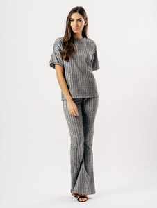 Grey Ribbed Wide Flare Trouser Set