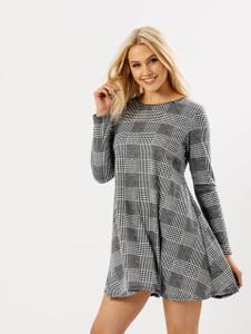 Monochrome Check Full Sleeve Swing Dress